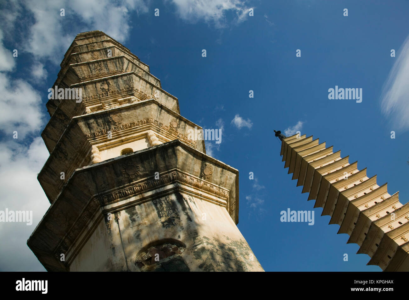 CHINA-Yunnan Province-Dali: Dali Old Town- Three Pagoda Park (built in the 9th century) -tallest is the Qianxun - Stock Image
