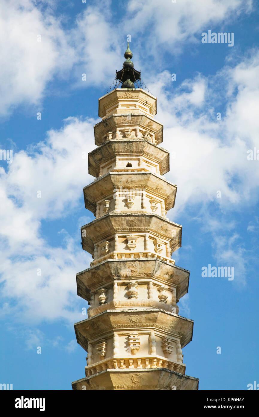 CHINA, Yunnan Province, Dali. Dali Old Town- Three Pagoda Park (built in the 9th century) / Morning. - Stock Image