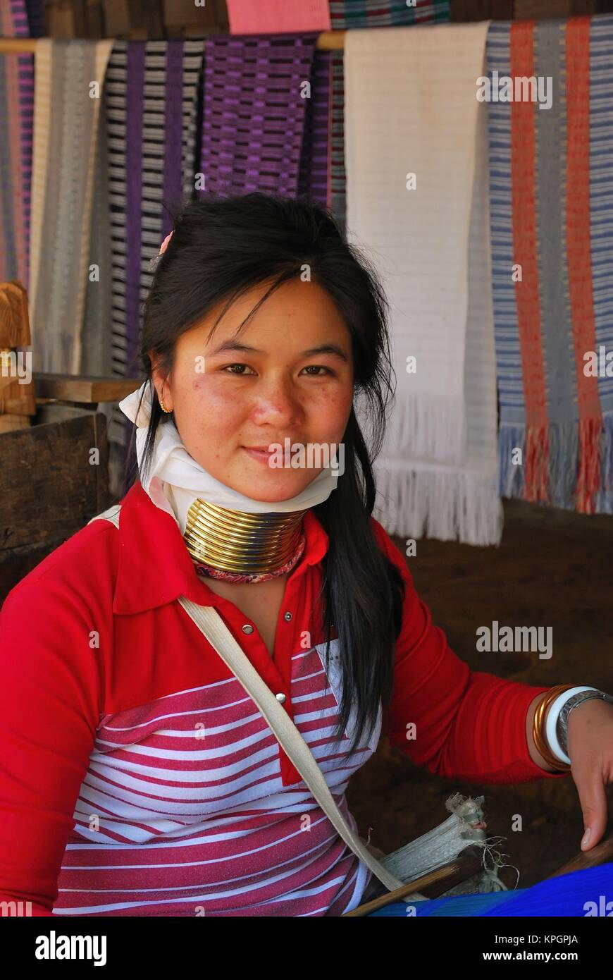 Young married Thai tribeswoman in modern clothes. - Stock Image