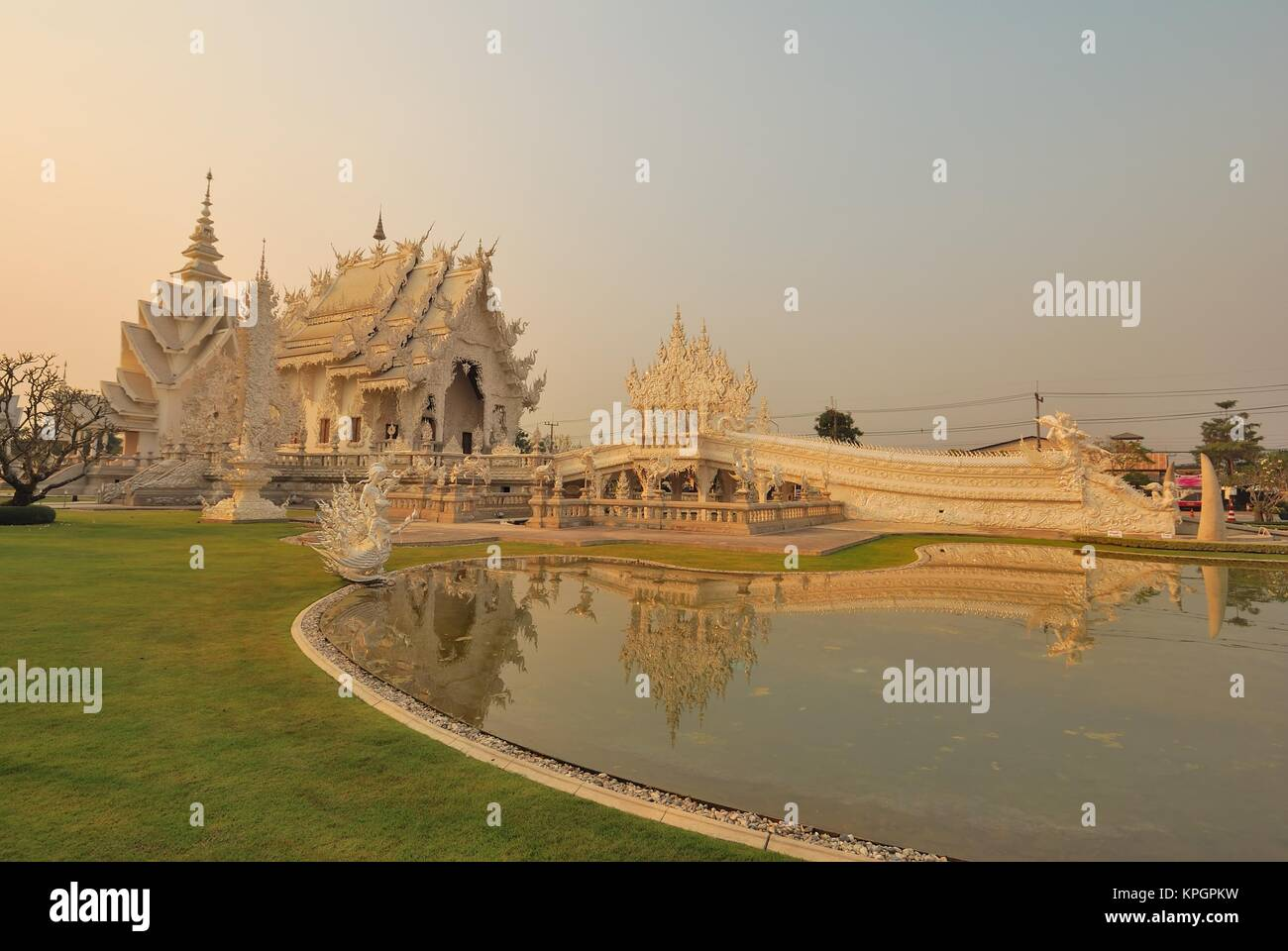 Famous Wat Rong Khun Buddhist and Hindu temple in Chiang Rai, Thailand. Stock Photo