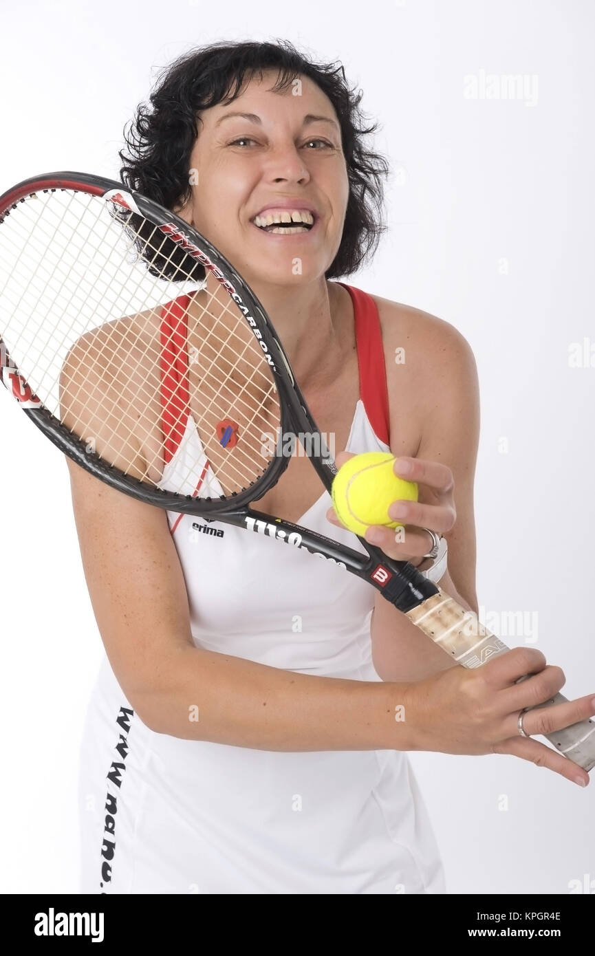 Model released , Tennisspielerin, 40+ - female tennis player - Stock Image