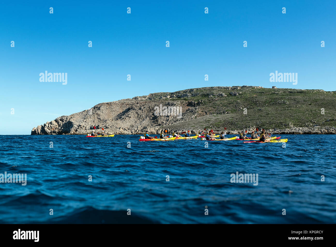 Kyak adventure tour, Fornells, Menorca, Balearic islands, Spain. - Stock Image