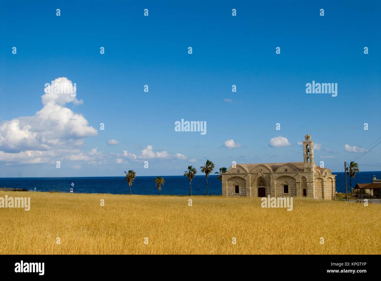 Cyprus, Karpas peninsula, Ayios Thyrsos church and the sea Stock Photo