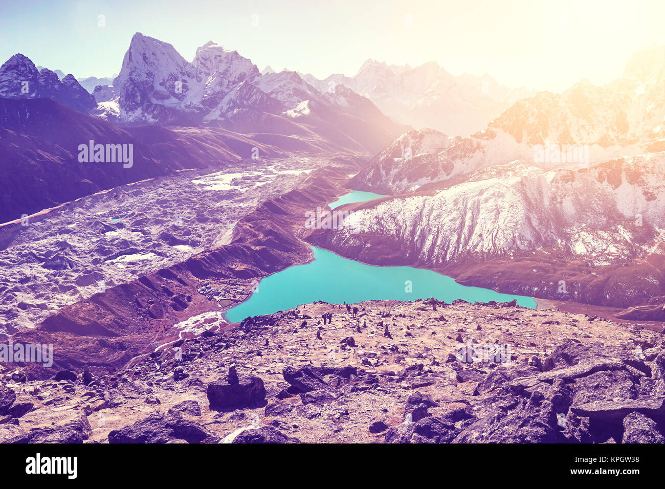 Beautiful view from Gokyo Ri summit, ultra violet color toned picture, Everest region, Nepal. - Stock Image
