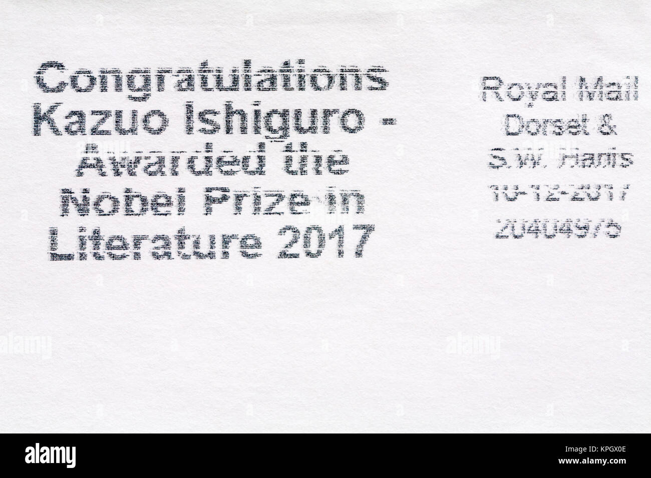 Congratulations Kazuo Ishiguro - awarded the Nobel Prize in Literature 2017 - information stamped on envelope - Stock Image