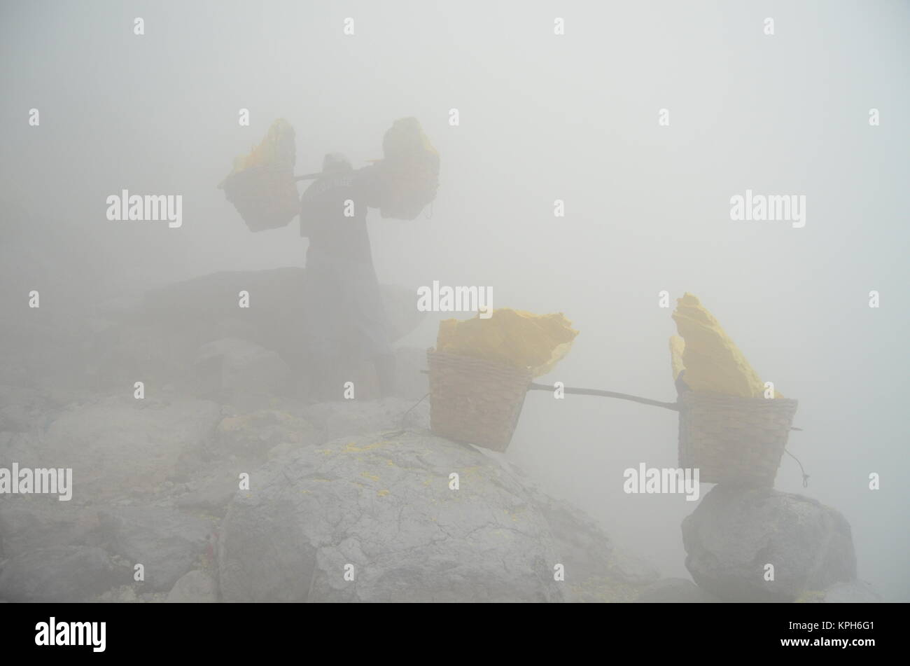 The sulfur miner in Kawah Ijen carrying the sulfur in the middle of toxic and chocking Sulfur Dioxide gas . - Stock Image