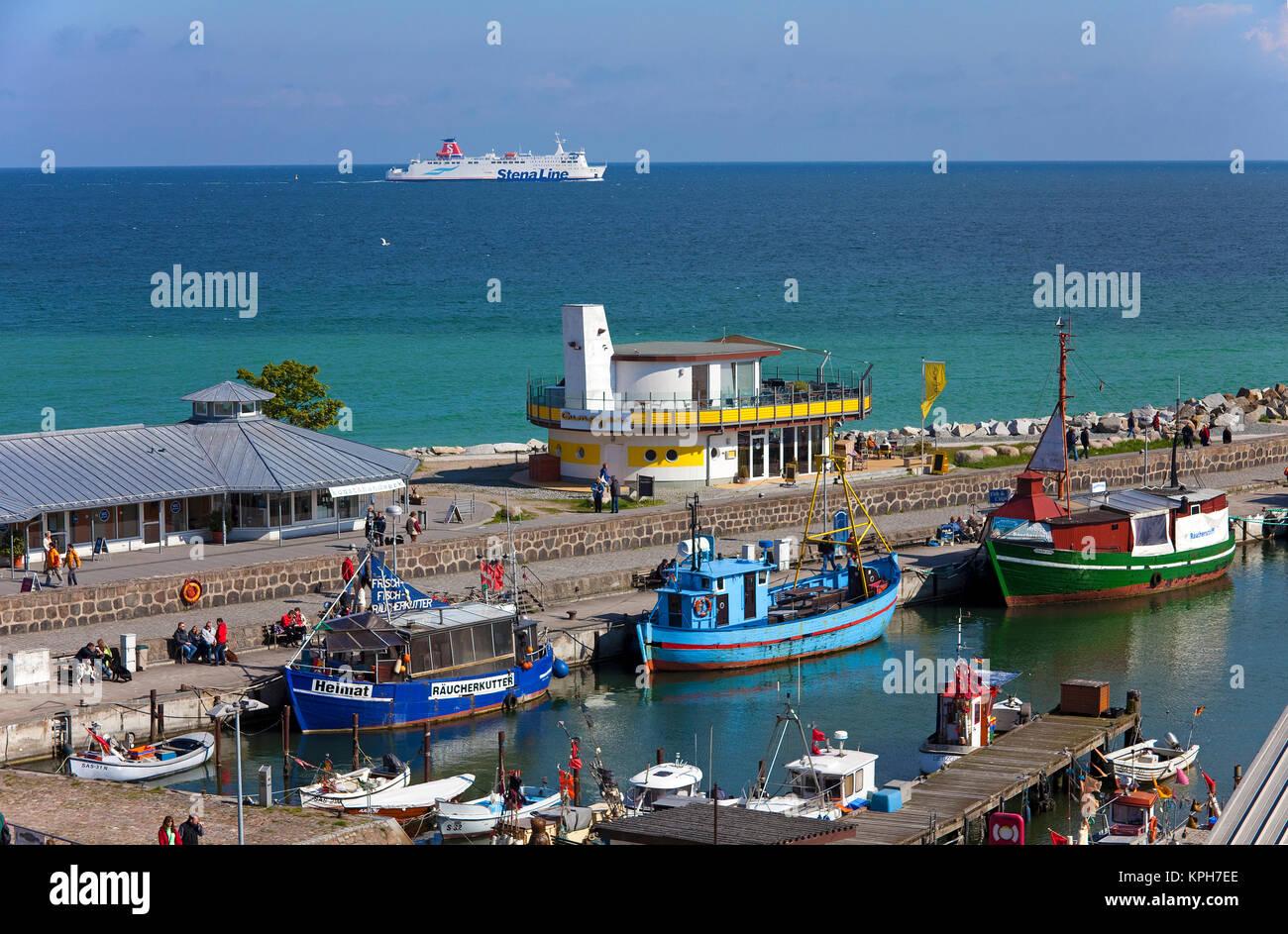 Harbour of Sassnitz, ferry on sea, Ruegen island, Mecklenburg-Western Pomerania, Baltic Sea, Germany, Europe Stock Photo