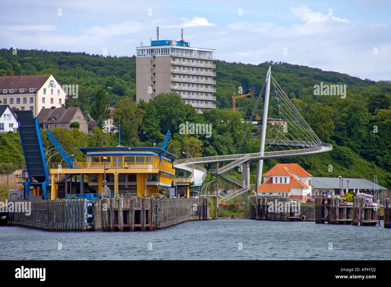 Hotel Ruegen and pedestrian bridge, connect city with harbour, Sassnitz, Ruegen island, Mecklenburg-Western Pomerania, Stock Photo