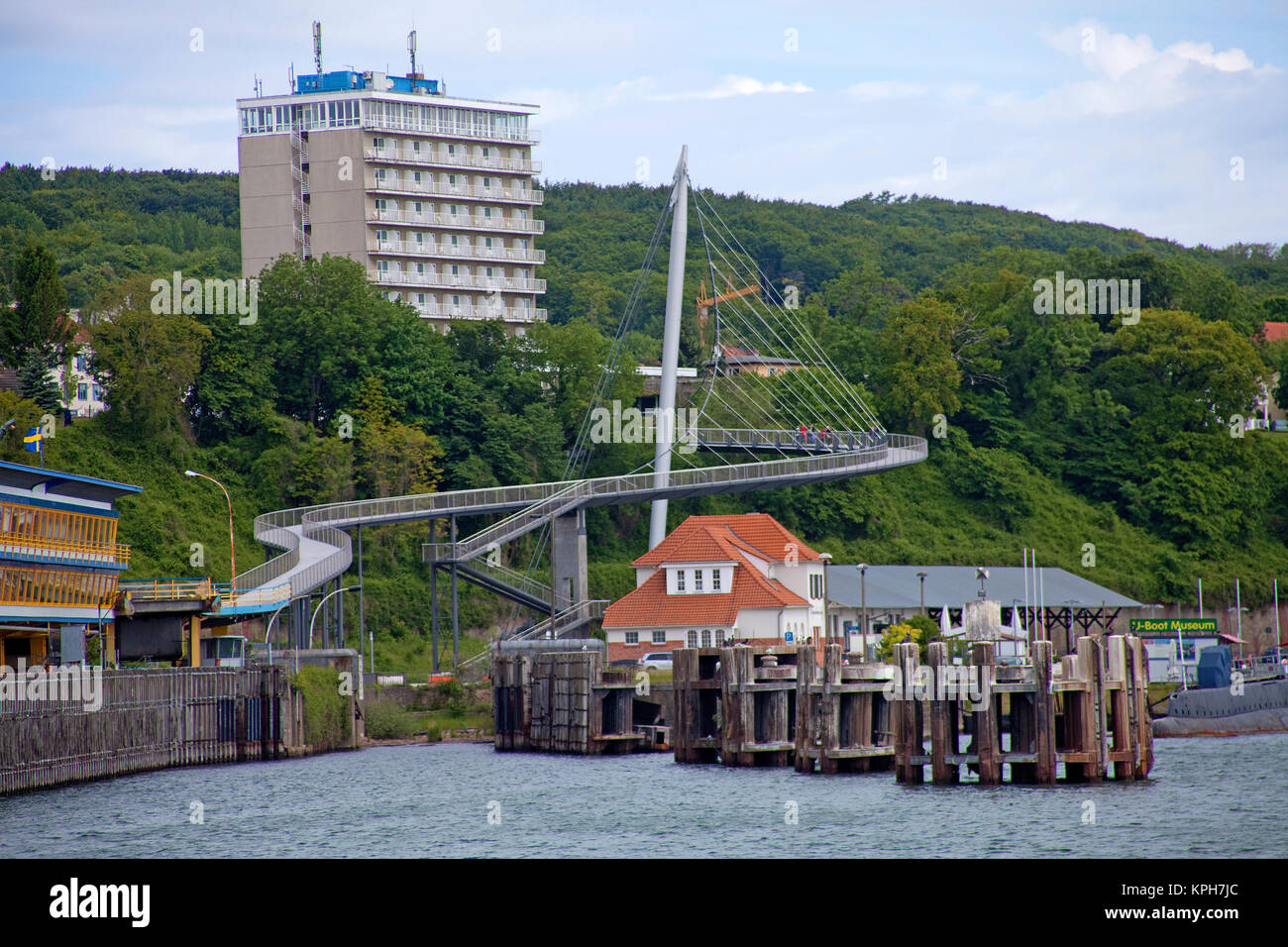Hotel Ruegen and pedestrian bridge, connect city with harbour, Sassnitz, Ruegen island, Mecklenburg-Western Pomerania, Stock Photo