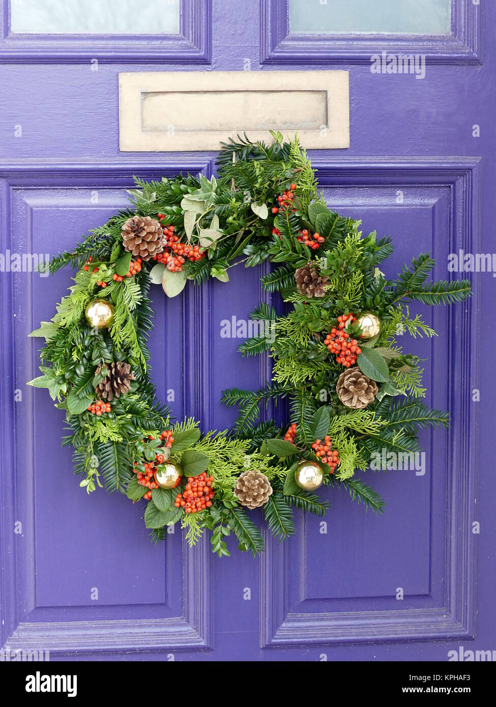 Colourful Wreath On A Purple Door Stock Photo 168797191 Alamy