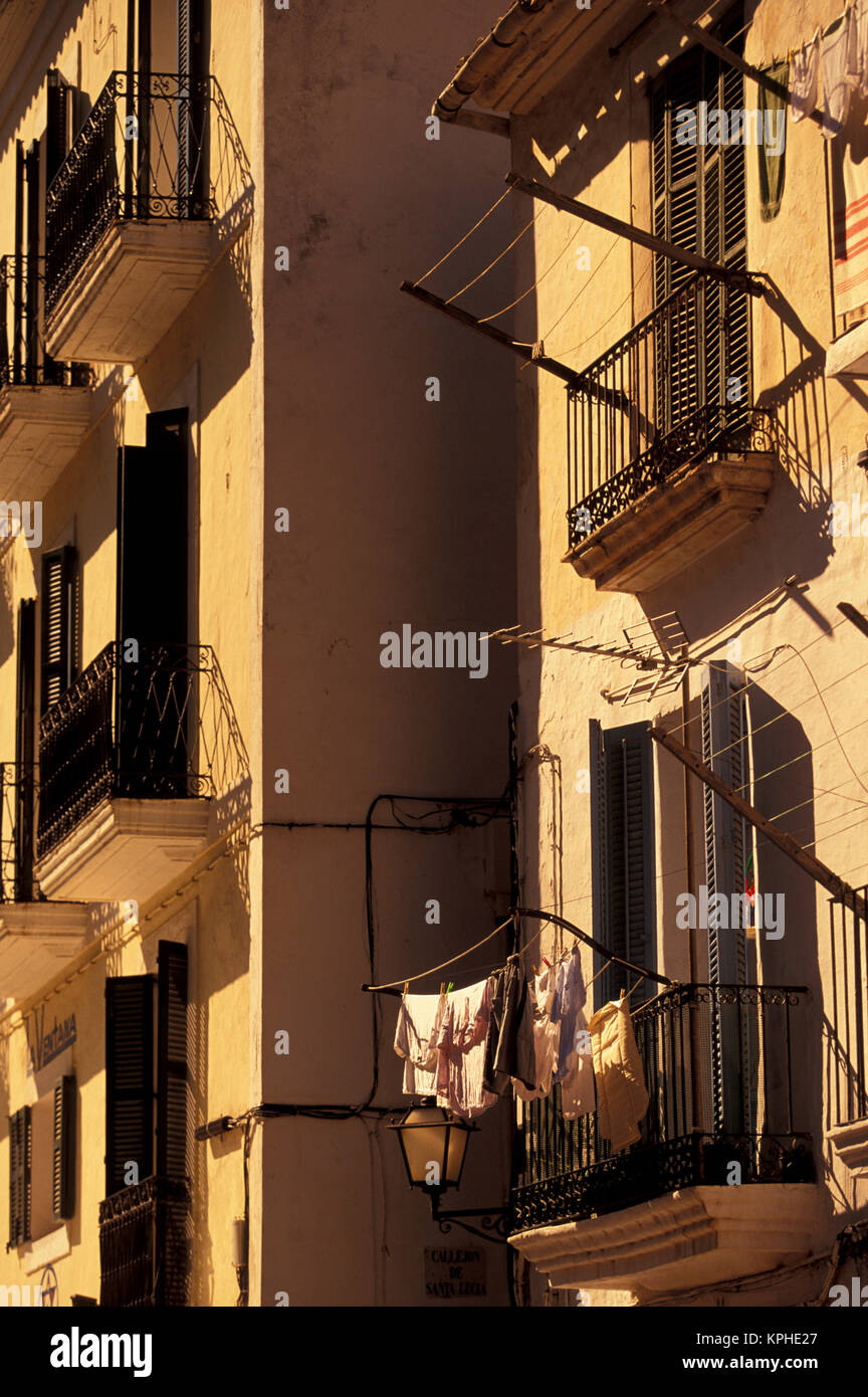 Spain, Balearics, Ibiza, Eivissa. Building details - Stock Image