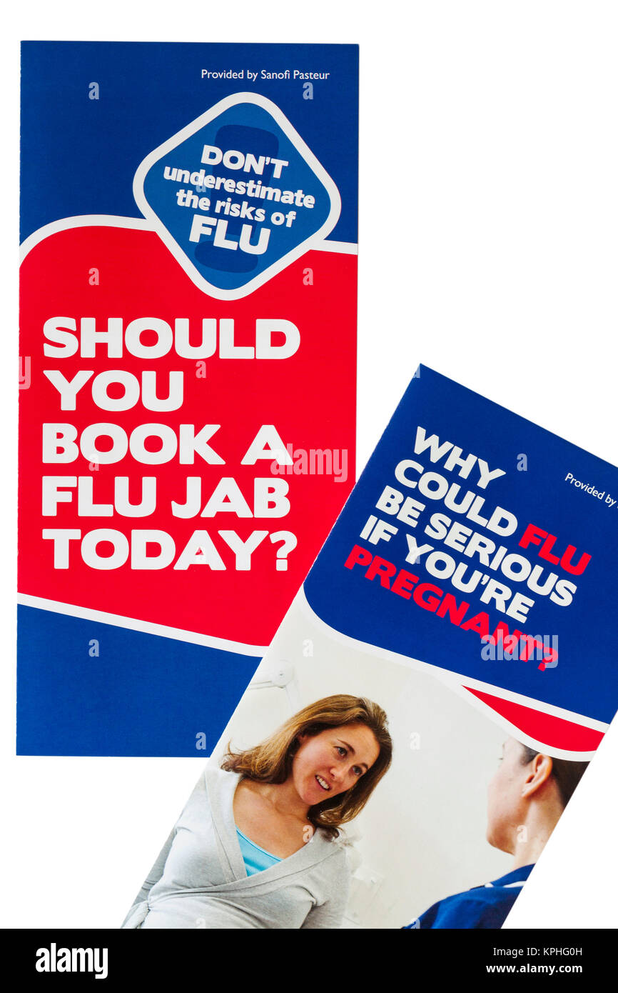 Don't underestimate the risks of FLU, should you book a flu jab today, why could flu be serious if you're - Stock Image