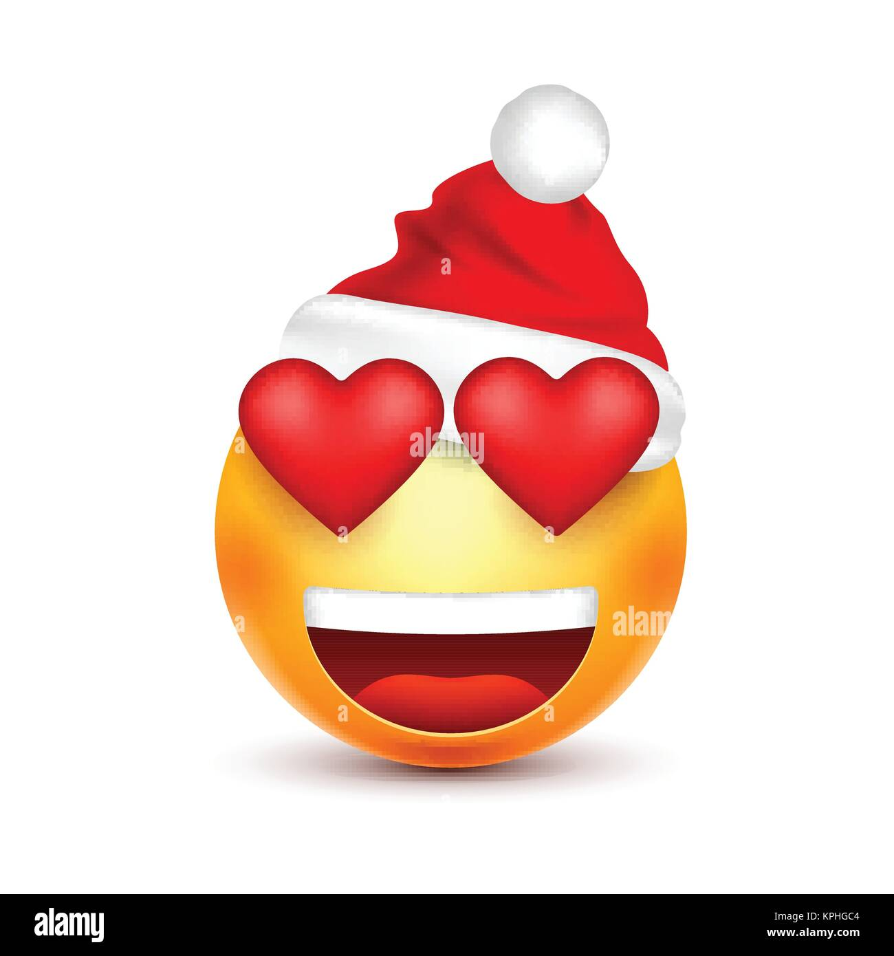 smileyemoticon yellow emoji face with emotions and christmas hat new year santawinter sadhappyangry facesfunny cartoon charactermood vector - Christmas Smiley Faces