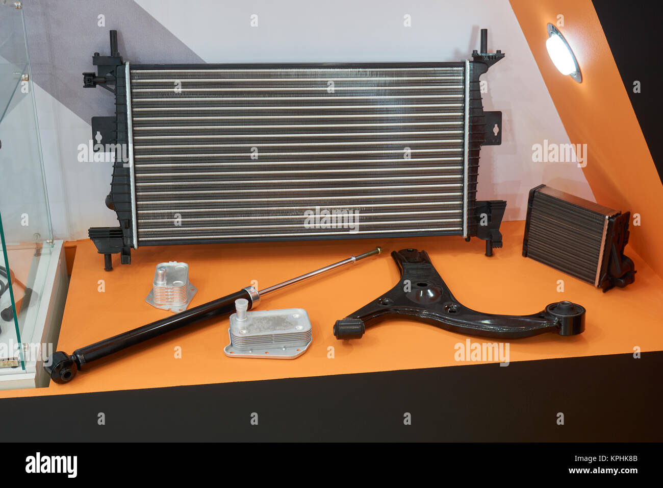 Automotive spare parts in the store: radiator, pneumatic tailgate ...