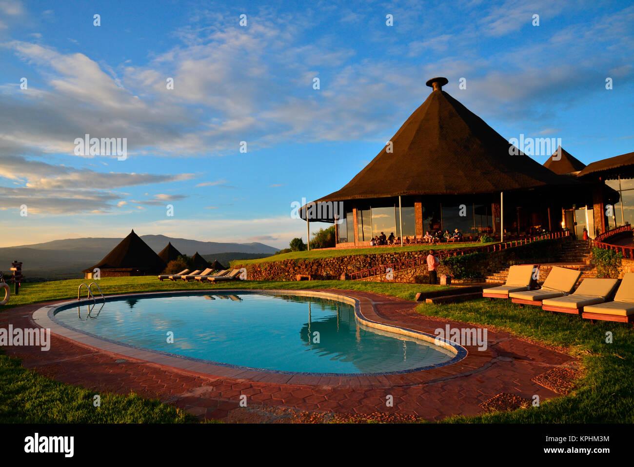 Ngorongoro Sopa Safari lodge and pool, Tanzania Stock Photo