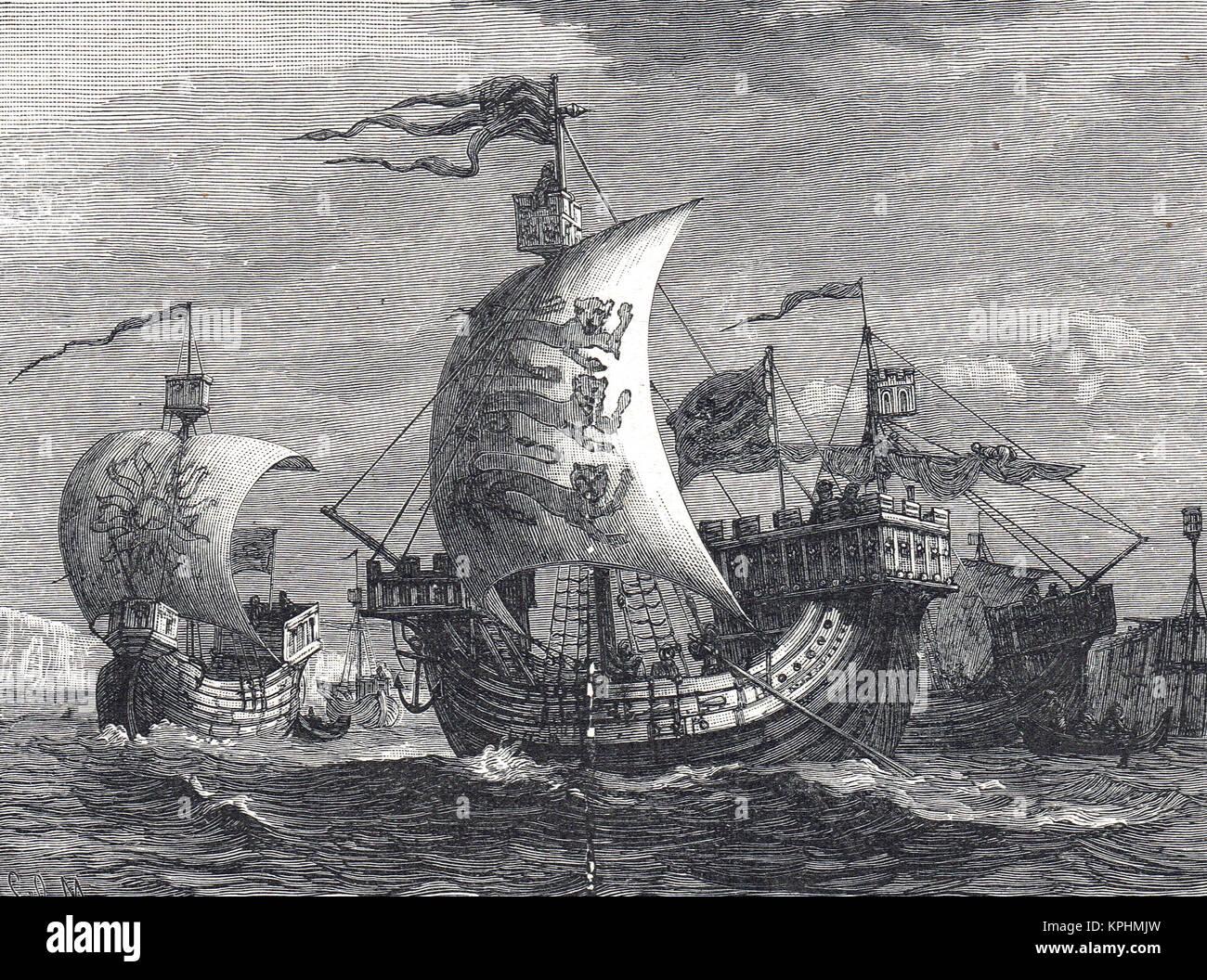 English ships of the Fourteenth century - Stock Image