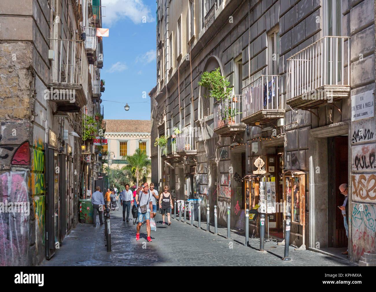Via San Pietro a Maiell, a street in the historic centre (Centro Storico), Naples, Campania, Italy - Stock Image