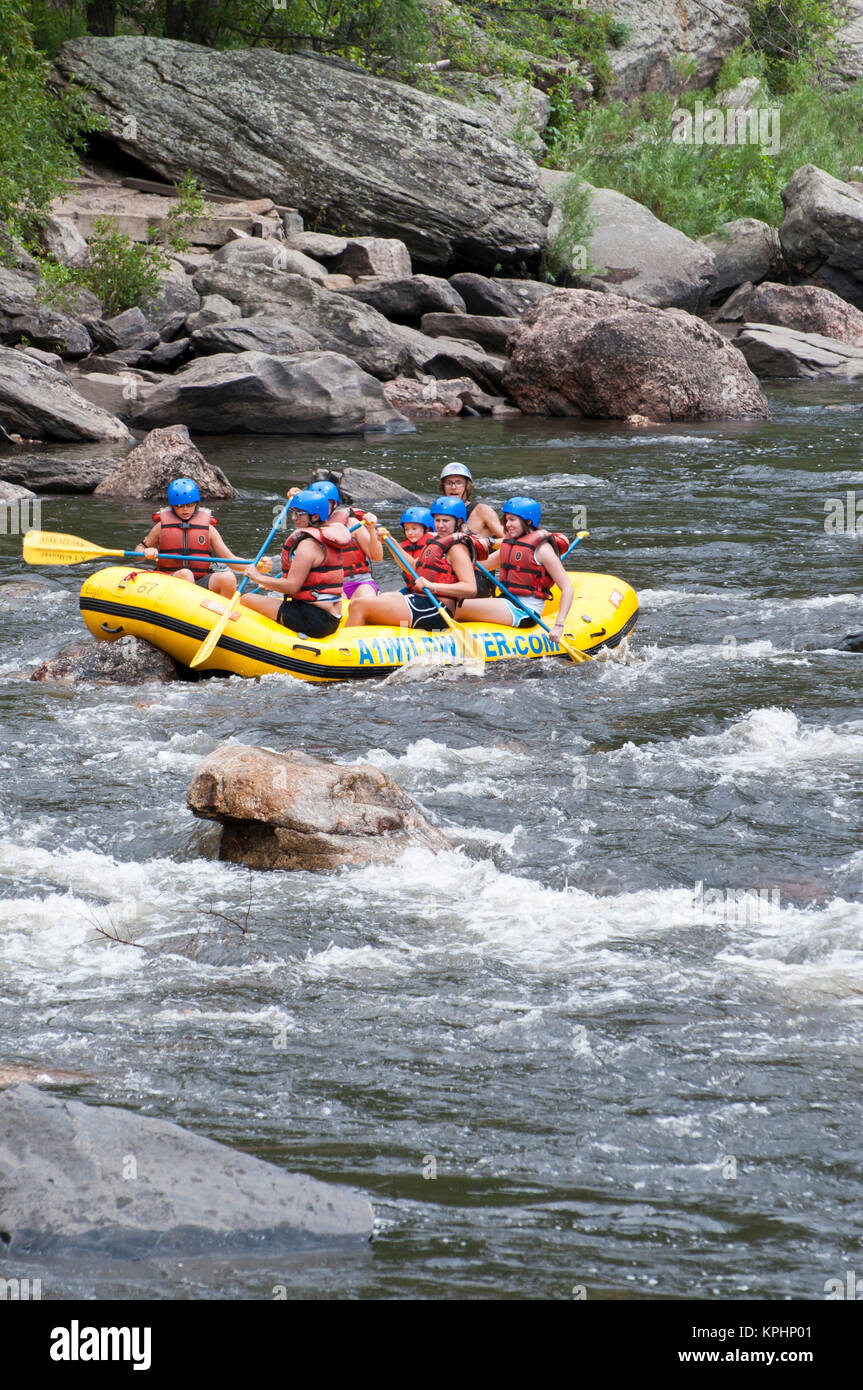 USA, CO, Fort Collins. Cache le Poudre River popular for summer rafting trips. Colorado's only National Wild - Stock Image