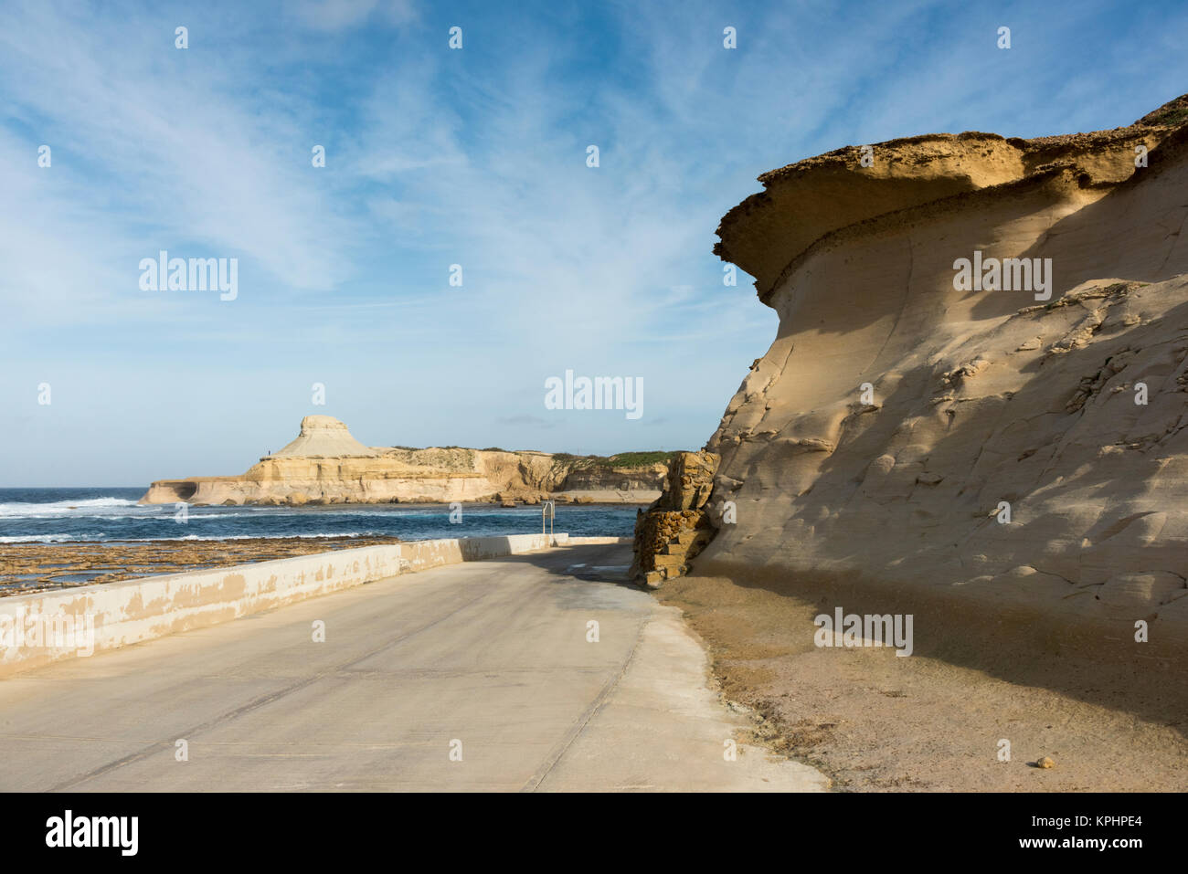 A sand formation made by wind erosion at Qbarjjar Bay Gozo Malta - Stock Image