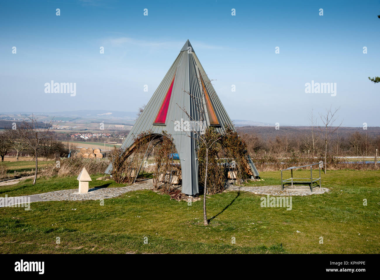 Pyramidal shaped shelter on a cycle trail. Picture taken near the village of Bad Sauerbrunn in the Rosalia region Stock Photo