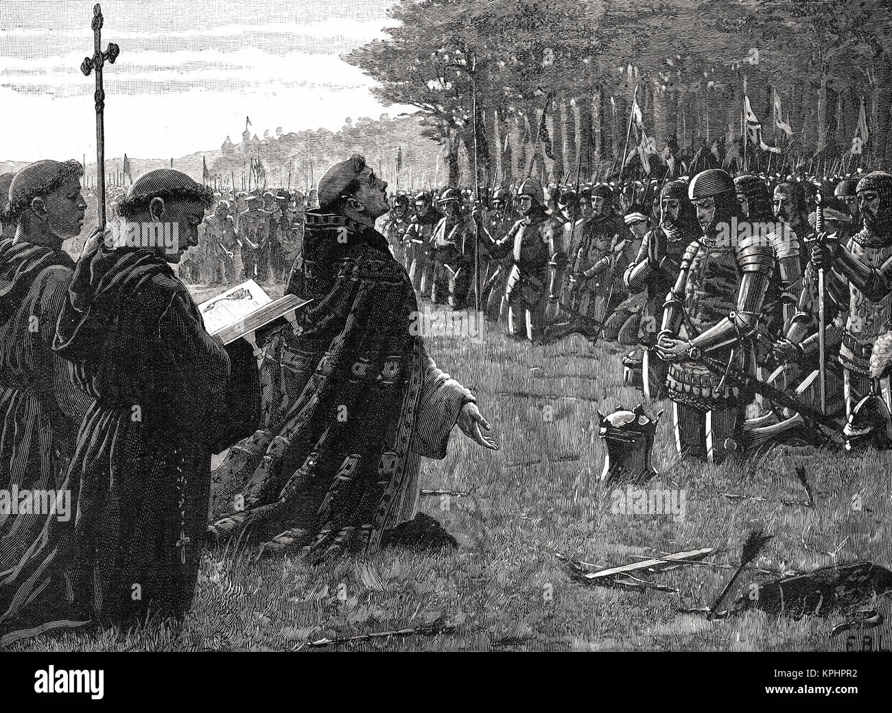 Thanksgiving service, Battle of Agincourt, Saint Crispin's Day, 25 October 1415 - Stock Image