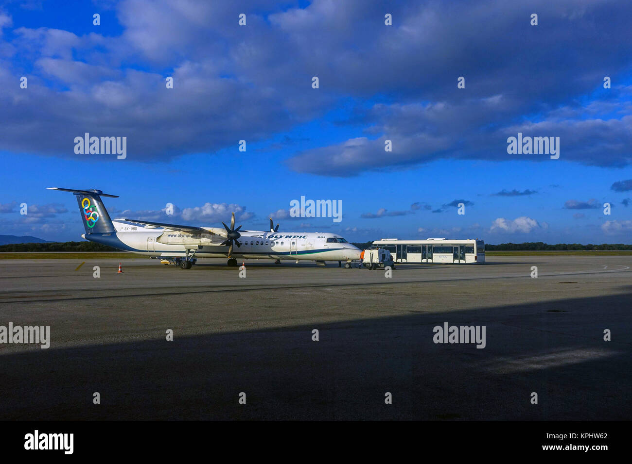 Bombardier Dash aircraft on tarmac at Kos Island airport - Stock Image