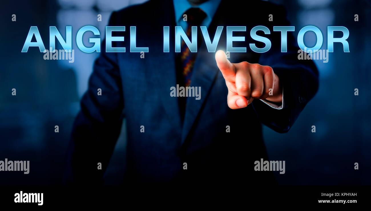 Entrepreneur Pointing At ANGEL INVESTOR - Stock Image