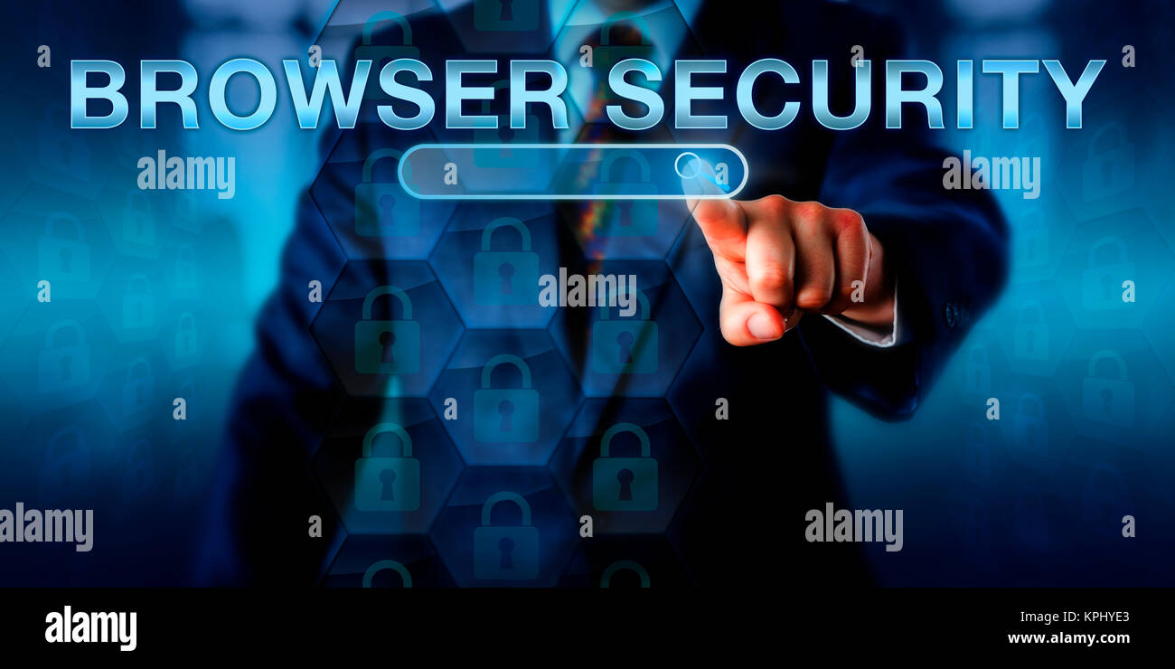 Business Internet User Pushing BROWSER SECURITY - Stock Image