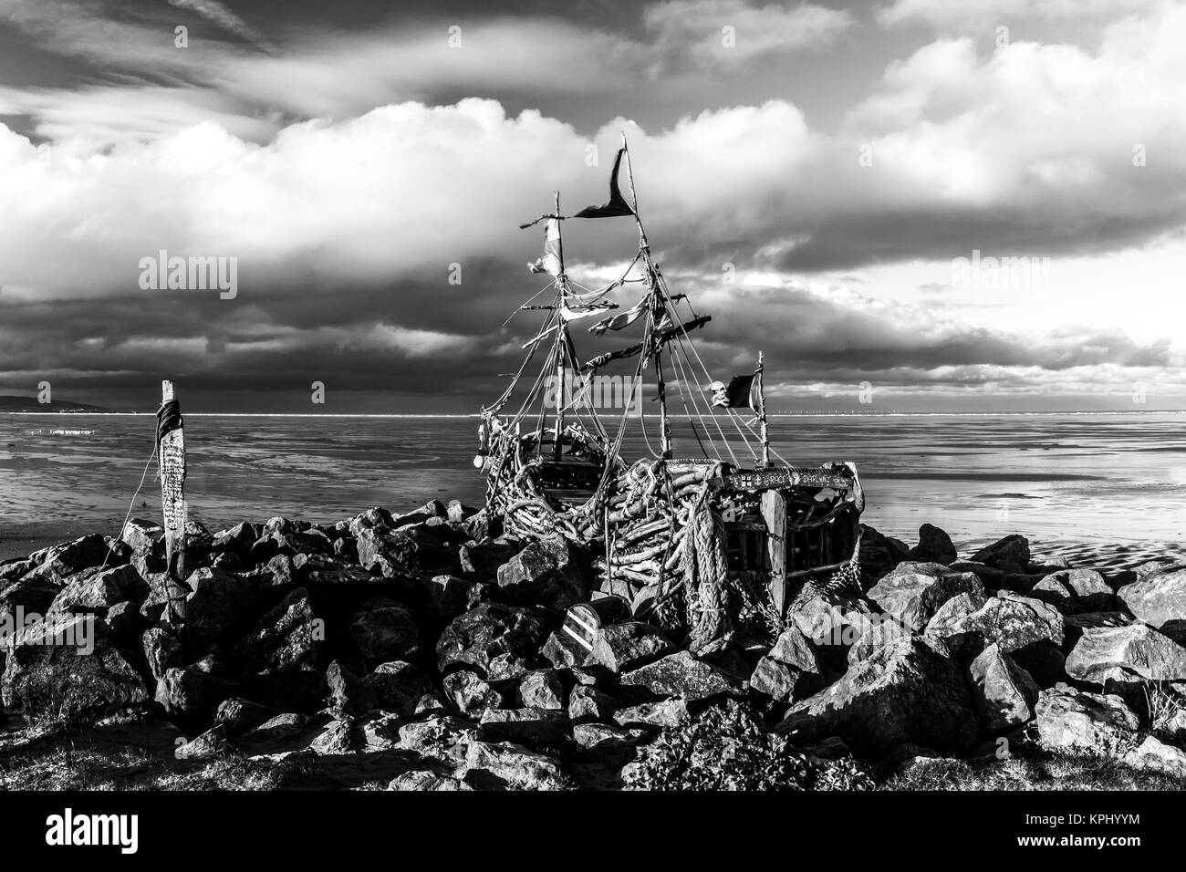 The 'Grace Darling' made from driftwood and scrap materials near Hoylake lifeboat station, Wirral, UK - Stock Image