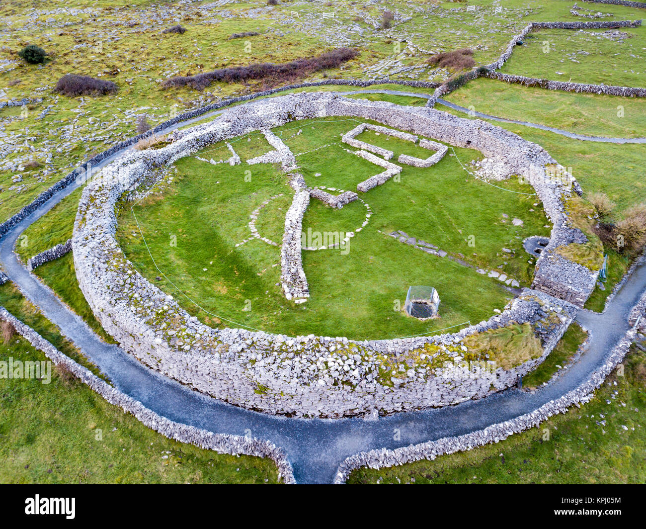 Caherconnell Celtic stone fort, Early Middle Age in Burren Region, County Clare, Ireland - Stock Image