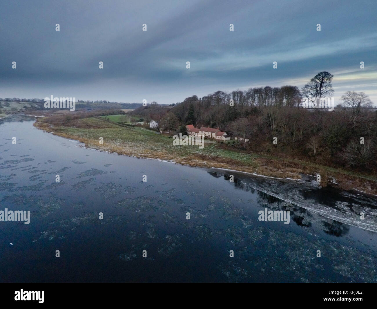 Aerial view of Norham Boathouse on the River Tweed - Stock Image