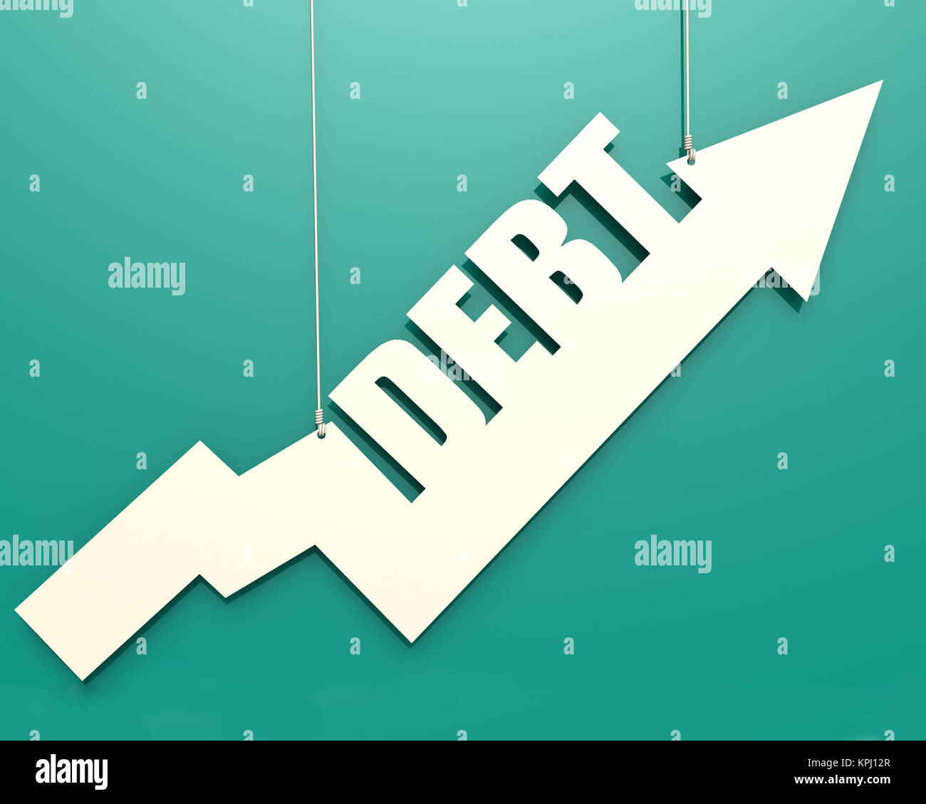 White arrow with debt word hang on cyan background - Stock Image