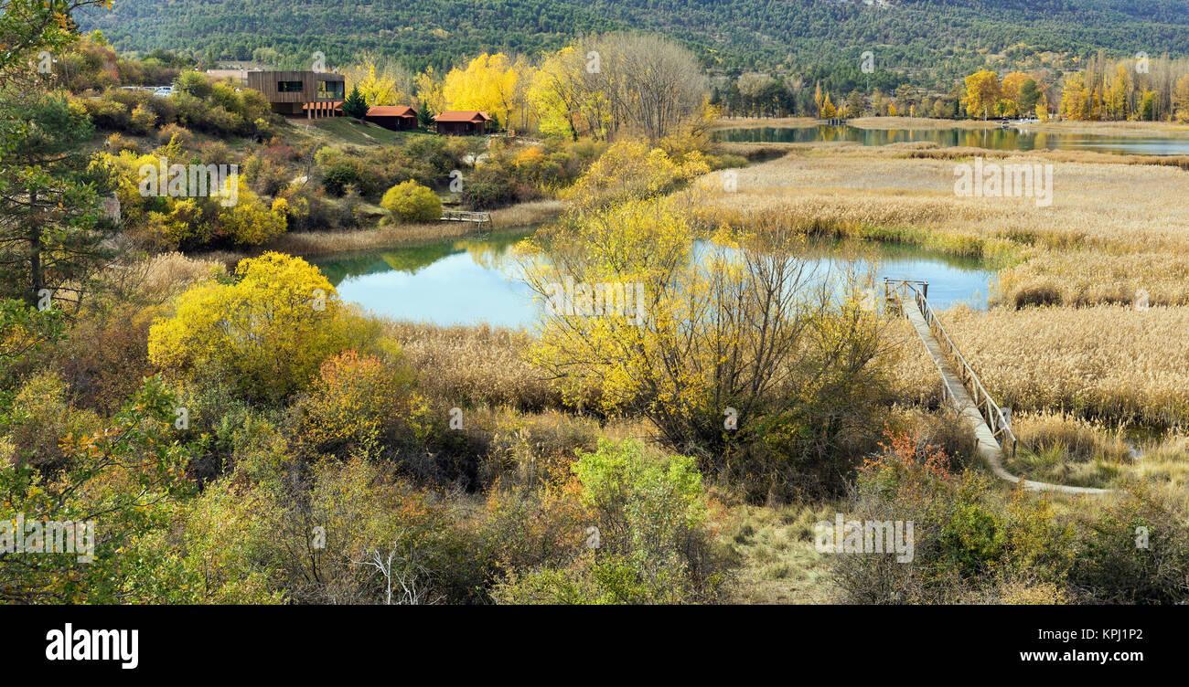 Laguna de Uña, near the village of Uña, Cuenca Province, Castilla la Mancha, Spain. The lagoon forms a - Stock Image