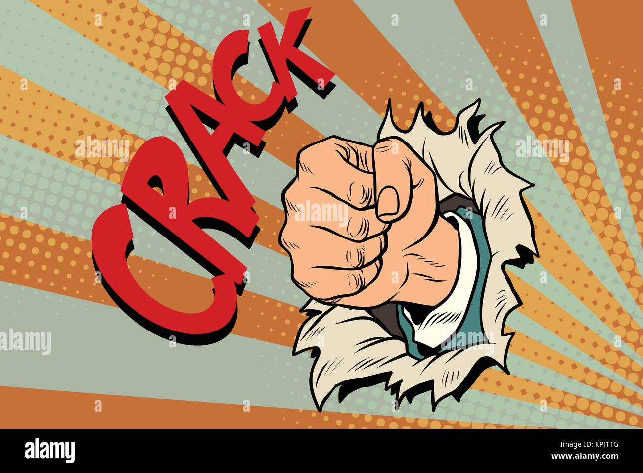 crack, a fist punches the paper - Stock Vector
