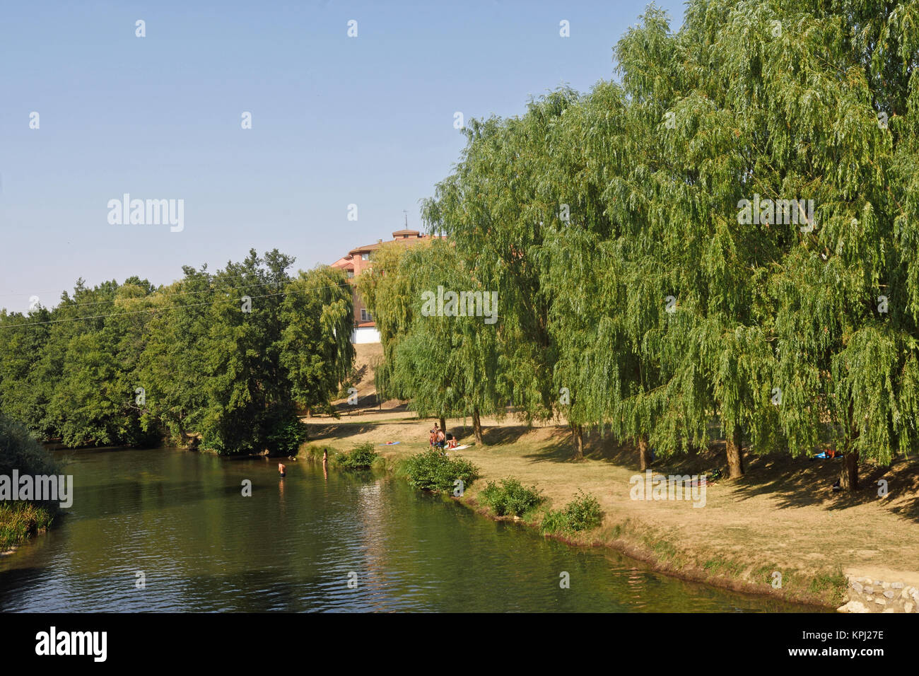 the river Carrion in its passage by Carrion of the Condes, Palencia province, Spain - Stock Image