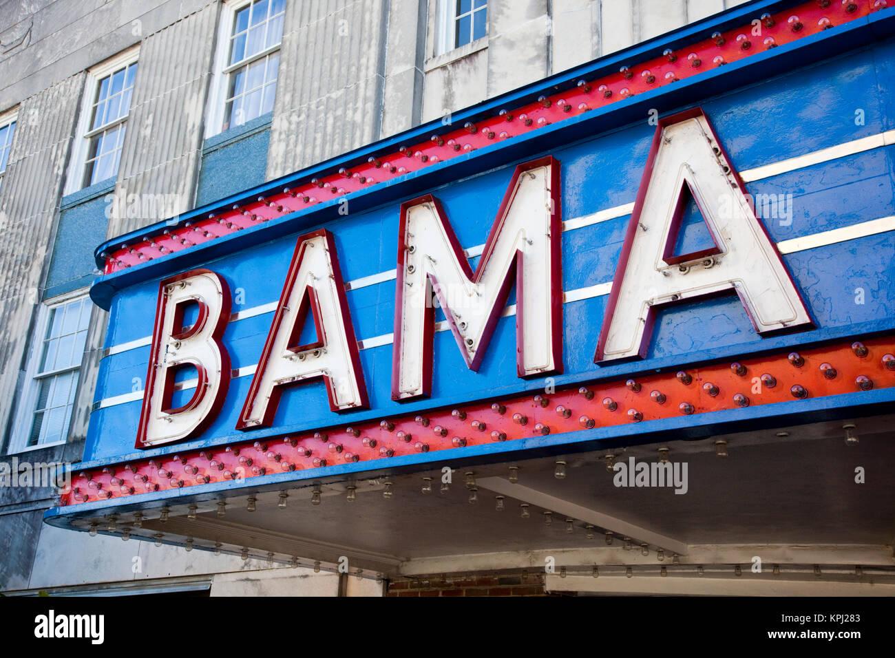 USA, Alabama, Tuscaloosa. Marquee of the Bama theater. - Stock Image