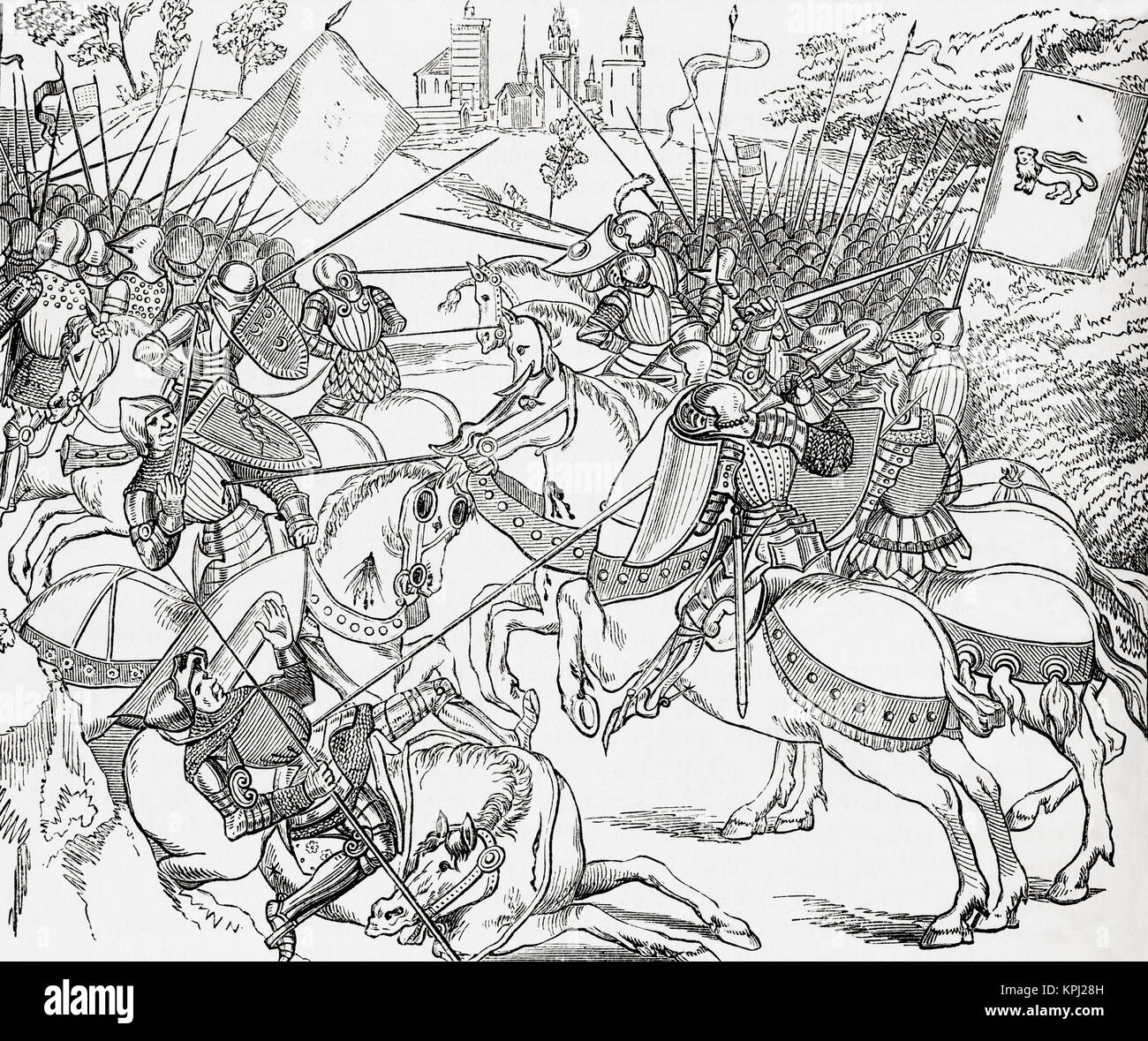 The Battle of Crécy, 26 August 1346, aka Battle of Cressy.  An English victory during the Edwardian phase of - Stock Image