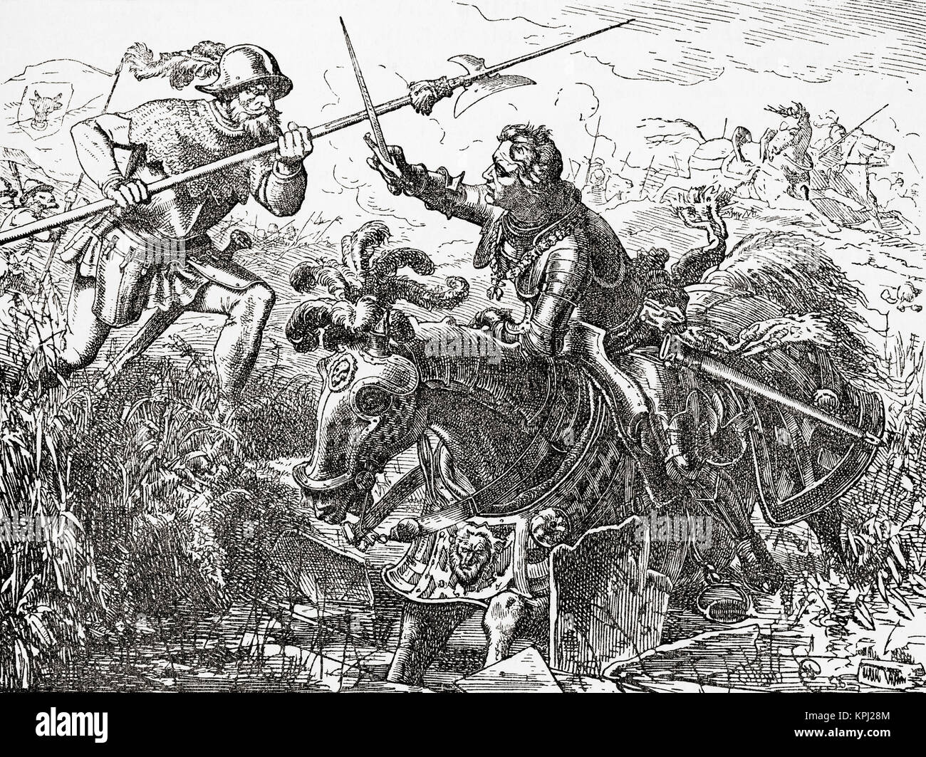The death of Charles the Bold in battle at Nancy, 1477. Charles the Bold,  baptized Charles Martin, 1433 – 1477. Duke of Burgundy.