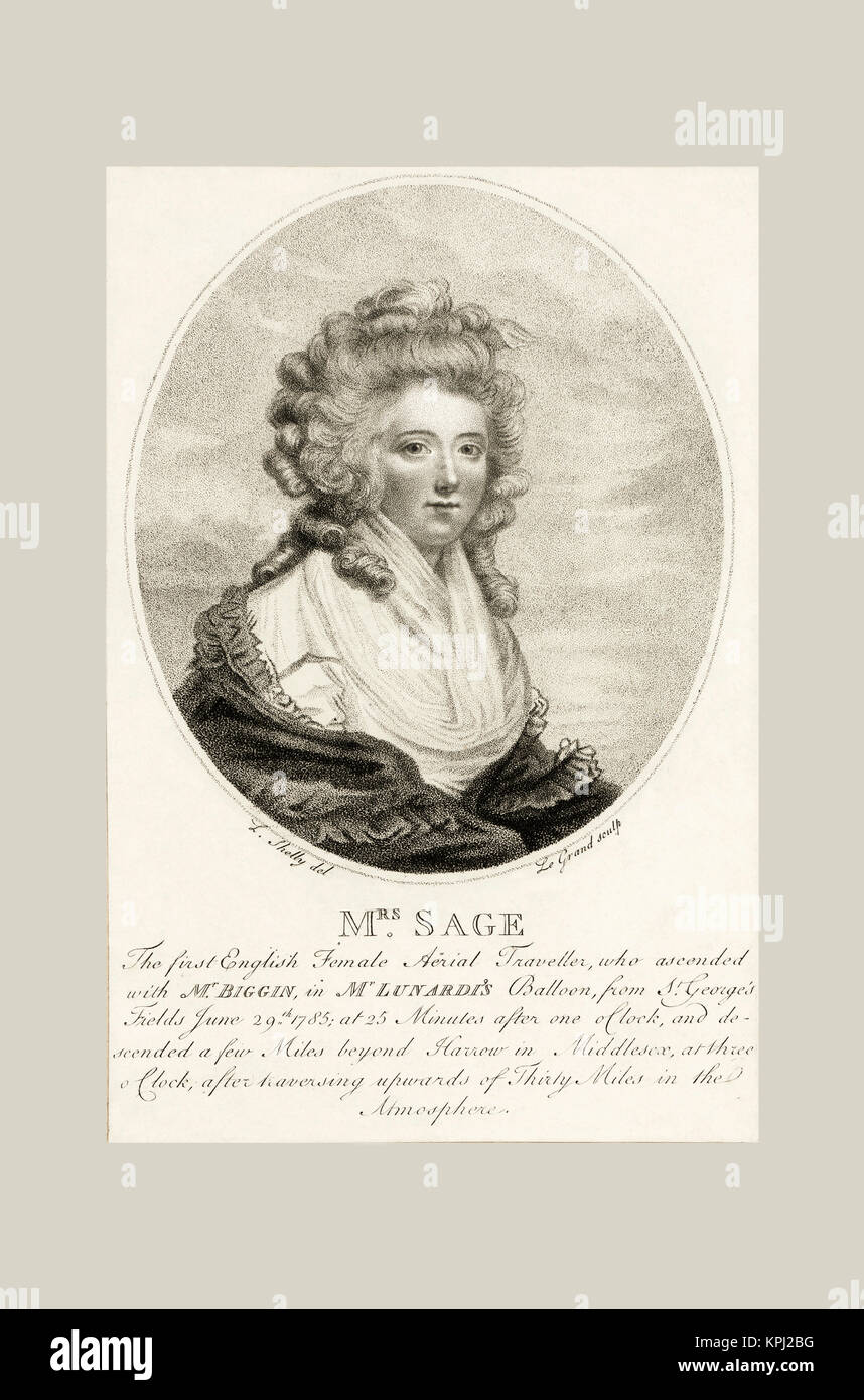 Letitia Ann Sage, first British female balloonist.  She went aloft with pioneering Italian aeronaut Vicenzo Lunardi - Stock Image