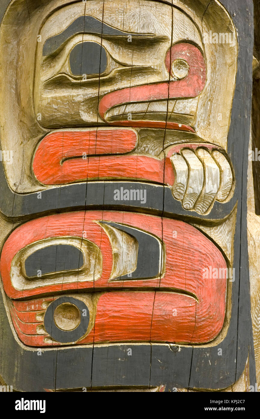 North America, USA, AK, Inside Passage, Kake. Tlingit Totem Pole detail - Stock Image