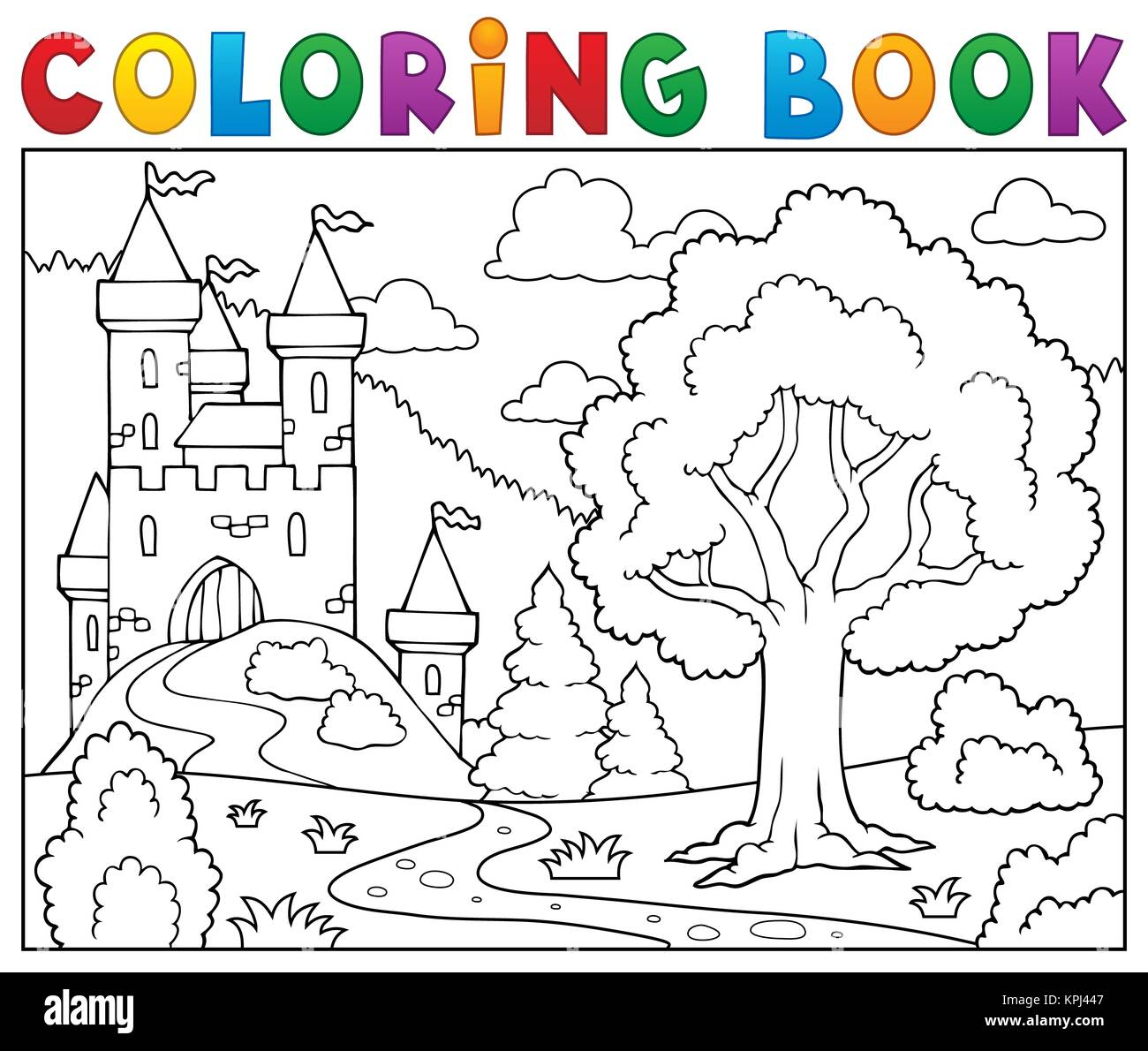 Coloring Book Castle And Tree Stock Photo 168814135 Alamy
