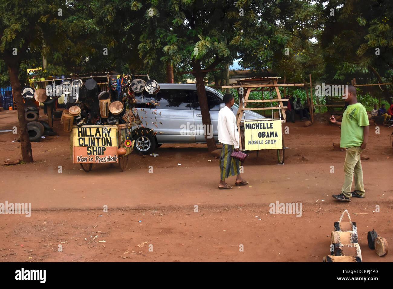 Tourist shops in Mto wa Mbu in the rift valley, Tanzania - Stock Image