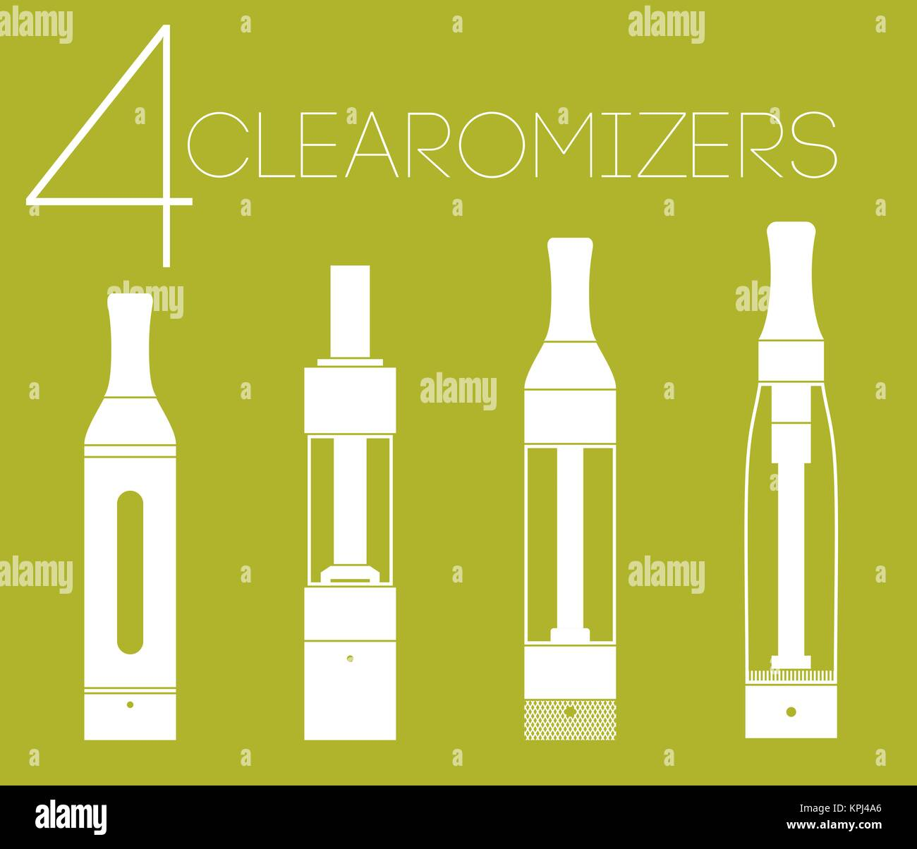 4 clearomizers set - Stock Image