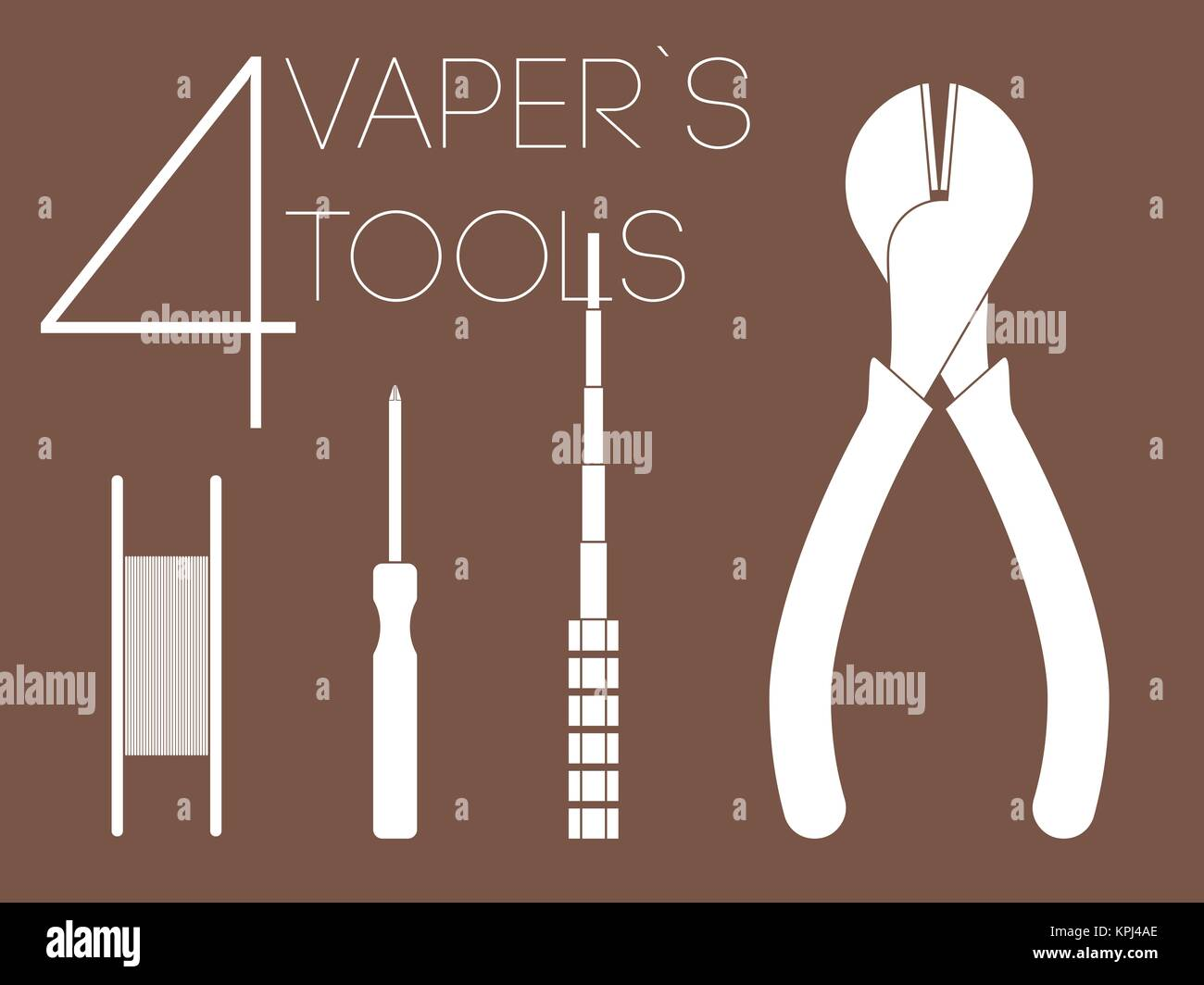 4 one color vaper tools set - Stock Image