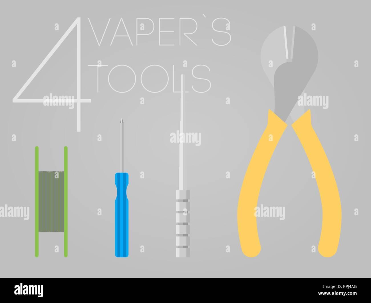 4 vaper tools set - Stock Image