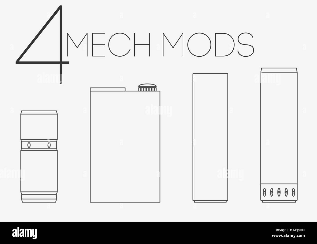 4 thin lines mechanical mods set - Stock Image