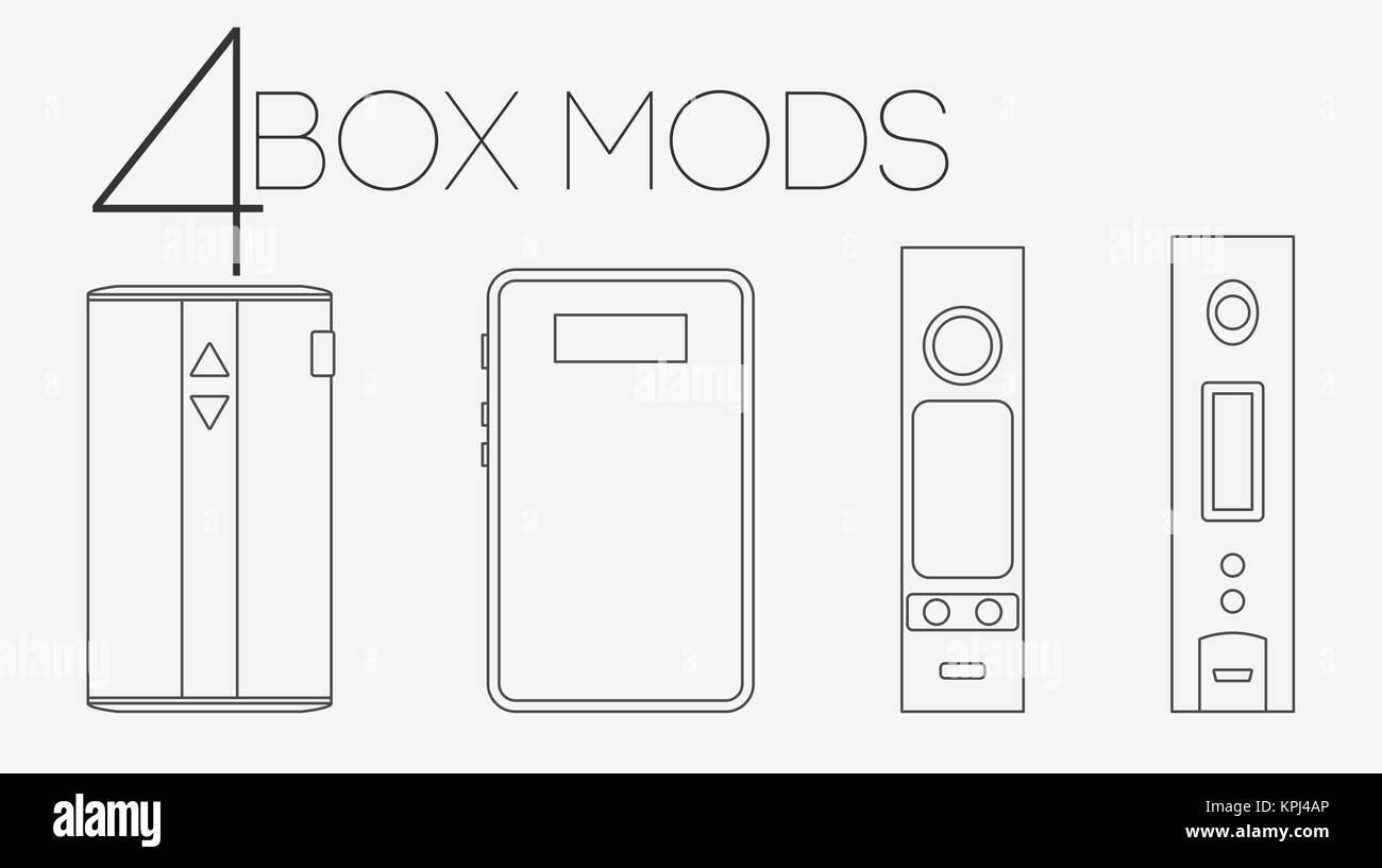 4 thin lines box mods set - Stock Image