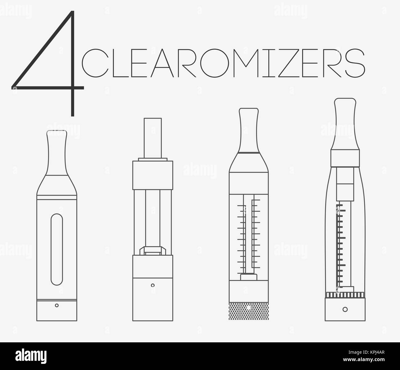 4 thin lines clearomizers set - Stock Image