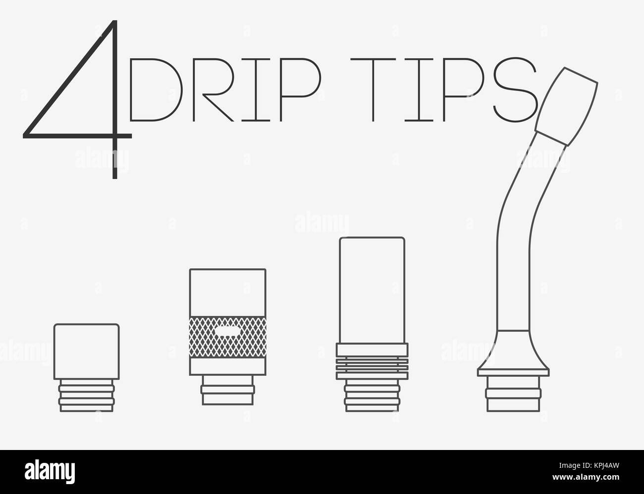 4 thin lines drip tips set - Stock Image