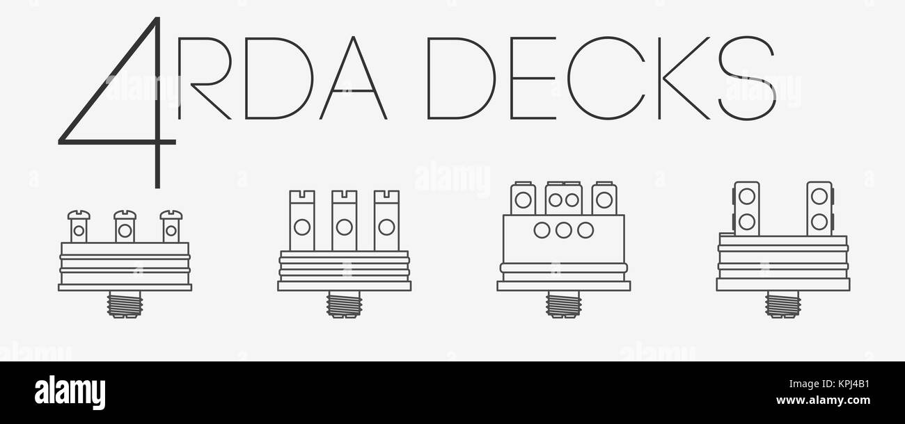 4 thin lines RDA decks set - Stock Image